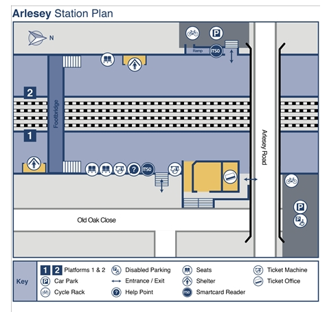 Arlesey Station Map